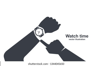Looking time black icon. Silhouette human in a suit watching time. Time control. Vector illustration flat design. Isolated on white background. Luxury elegant businessman with a fashionable watch.