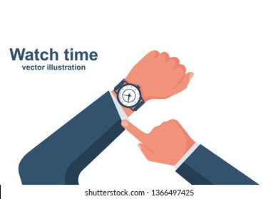 Looking time. Human in a suit watching time. Time control. Vector illustration flat design. Isolated on white background. Luxury elegant businessman with a fashionable watch.
