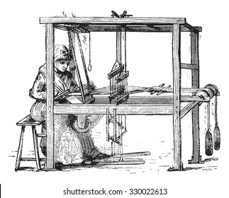 Loom, vintage engraved illustration. Magasin Pittoresque 1877.