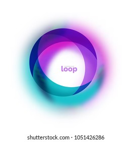 Loop circle business icon, created with glass transparent color shapes. Vector abstract round design