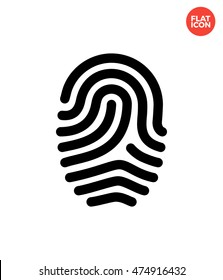 Loop of fingerprint Icon Flat Style Isolated Vector Illustration