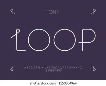 Loop font. Vector alphabet letters and numbers. Typeface design.
