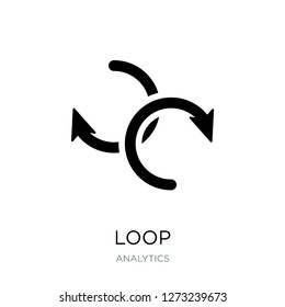 loop icon vector on white background, loop trendy filled icons from Analytics collection, loop simple element illustration