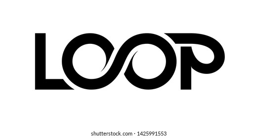 Loop logo. Vector ribbon lettering isolated on white background. RGB. EPS10. Global color