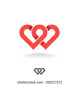 Loop from two hearts. Abstract vector symbol of love.