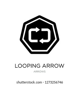 looping arrow icon vector on white background, looping arrow trendy filled icons from Arrows collection, looping arrow simple element illustration