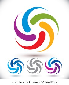 Looping vector abstract symbol, conceptual rotate icon set.