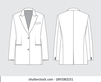 loose blazer, front and back, drawing flat sketches with vector illustration by sweettears