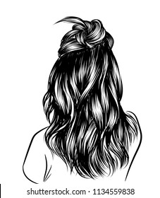 Loose curly long hair with black hair. Fashion illustration for salon, web, business card, templates.Sketch style realistic hair created with lines.