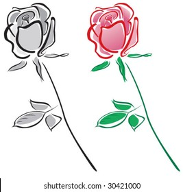 Loose illustration of a single rose