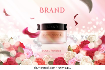 Loose powder ads, floral decorative frame with pink defocused background in 3d illustration