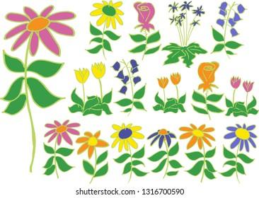 Loose vector sketch of fun flowers