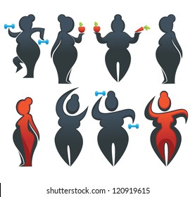 loose weight, be fit, vector collection of overweight people
