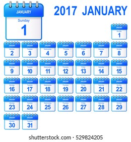 Loose-leaf calendar 2017, january. Vector illustration (icon for app).