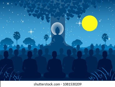 Lord of Buddha mediating with crowd of monk,silhouette style