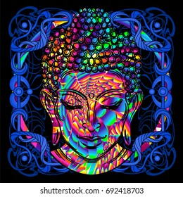 The Lord Buddha is a psychedelic painting in a retro style. Popular vintage graphics postcard and posters from the 1960s to the 1980s. Art Nouveau and Hippie art. Goa trance art. Design of T-shirts