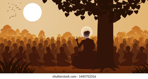 Lord of Buddha sermon dharma to crowd of monk,silhouette style,vector illustration