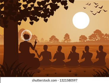 Lord of Buddha sermon to five ascetics and was enlighten become first monk of Buddhism,silhouette design,vector illustration
