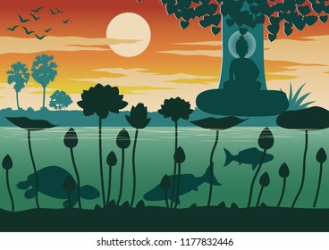 Lord of Buddha teach by compare there are four kind of people and four group of lotus,silhouette design,vector illustration