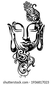Lord Buddha vector illustration. Isolated on white background.