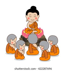 Lord Buddha's first sermon with five monks. Vector Illustration.