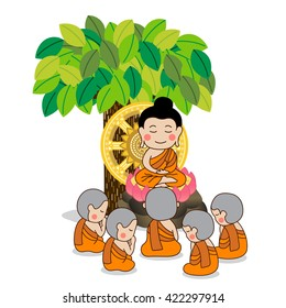 Lord Buddha's first sermon in front of wheel of life with five monks under the tree. Vector Illustration.