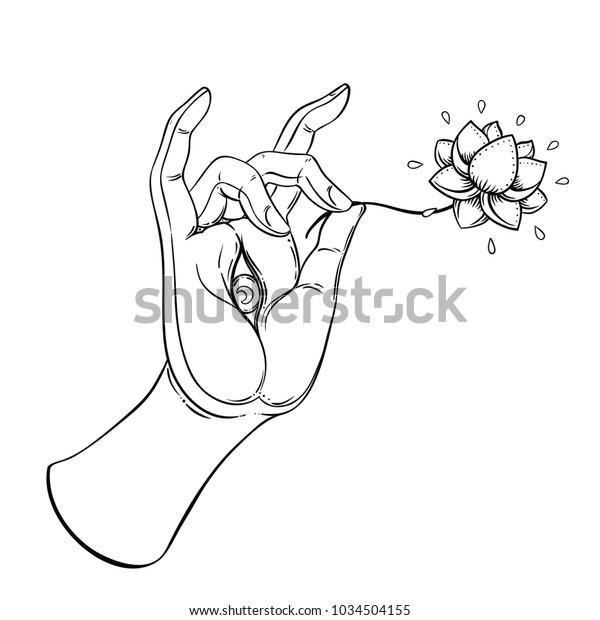 Lord Buddhas Hand Eye Holding Lotus Stock Vector Royalty Free