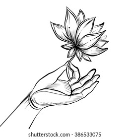 Lord Buddha's hand holding Lotus flower. Isolated vector illustration of Mudra.  Hindu motifs. Tattoo, yoga, spirituality, textiles. Sketchy style, hand drawn. Vintage drawing.