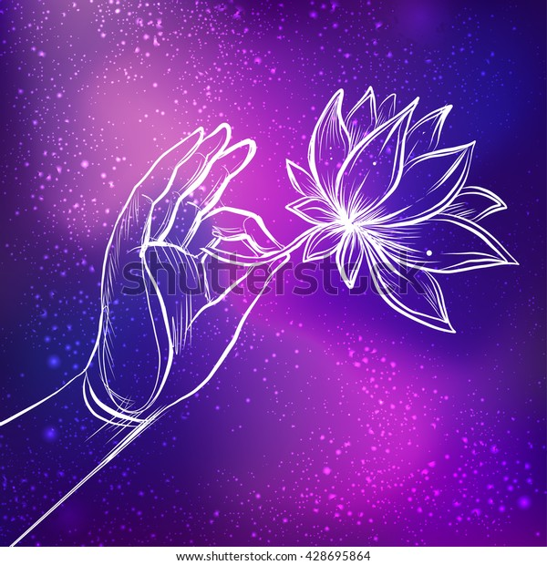 Lord Buddhas Hand Holding Lotus Flower Stock Vector Royalty Free