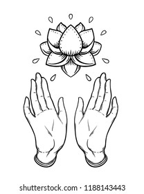 Lord Buddha's open hands holding Lotus flower. Isolated vector illustration of Mudra. Hindu motifs. Tattoo, yoga, spirituality, textiles. Sketchy style, hand drawn. Vintage drawing.