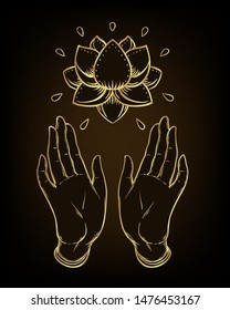 Lord Buddha's open hands holding Lotus flower. Isolated vector illustration of Mudra. Hindu motifs. Tattoo, yoga, spirituality, textiles. Sketchy style, hand drawn. Gold gradient over black.
