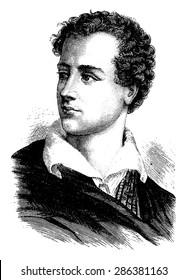 Lord Byron, vintage engraved illustration. History of France - 1885.