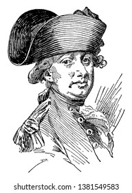 Lord Cornwallis, 1738-1805, he was a British general and colonial governor, famous as one of the leading British generals in the American war of Independence, vintage line drawing or engraving