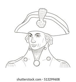 Lord Duke admiral Horatio Nelson. Royal Navy, national hero. Napoleonic wars. Trafalgar battle. Cock Hat. Sketch illustration.