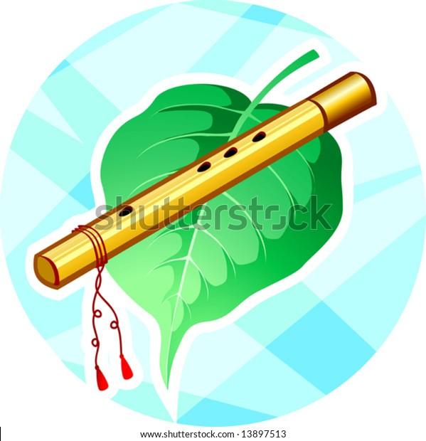 Lord Krishna's flute and leaf