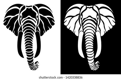 Lord Ganesh or Elephant -  Tattoo, T shirt design, wall sticker or Intarsia Pattern with dark and white background