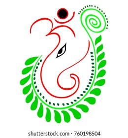 Lord Ganesh with Green Leaf