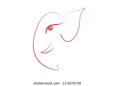 Lord ganesh line art vector graphic illustration