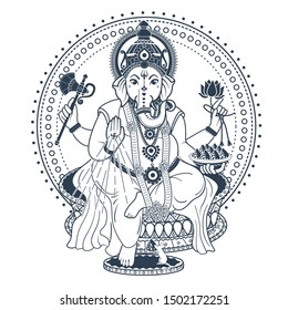 lord Ganesh. Ganesh Puja. Ganesh Chaturthi. It is used for postcards, prints, textiles, tattoo. Black and white icon in the linear style
