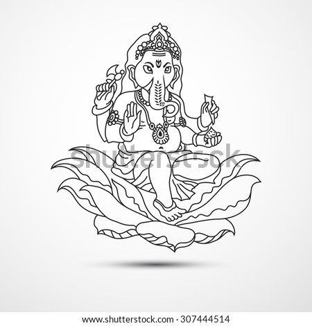 Lord Ganesha Ganesh Chaturthi Indian Hindu Vector de stock (libre de ...