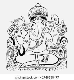 Lord Ganesha Ganpati Bappa vector illustration