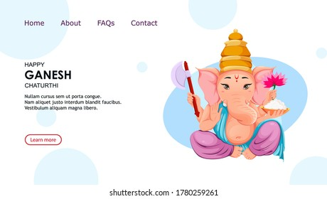 Lord Ganesha. Ganpati idol in traditional Indian clothes for Ganesha Chaturthi holiday. Vector illustration, usable for website, landing page etc.