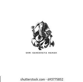 Lord Ganesha icon, chaturthi, festival, worship, religion, ganpati, white background, vector illustration