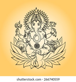 Lord ganesha indian god with elephant head. Hinduism and animal, crown and lotus. Vector illustration