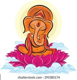 Lord Ganesha on lotus, color