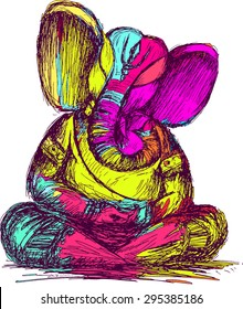 Lord Ganesha sketch, color