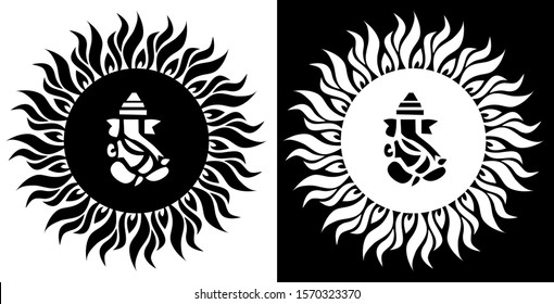 Lord Ganesha surrounded by sun flames is in Black and white background