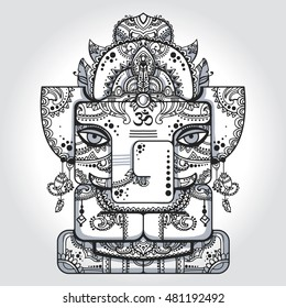 Lord Ganesha. Vector illustration of indian god of wisdom and prosperity. Elephant with mandala of the background. Good for postcard, prints, tattoo.