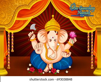 Lord Ganpati in vector for Happy Ganesh Chaturthi festival celebration of India