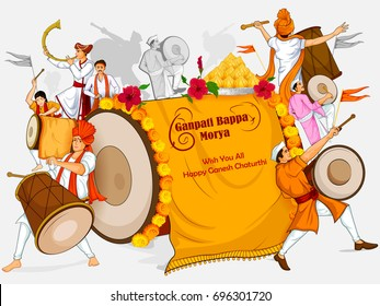 Lord Ganpati in vector for Happy Ganesh Chaturthi festival celebration of India with people celebrating dhol tasha with text meaning My Father Ganapati